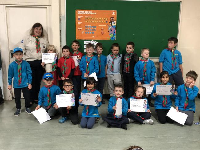 The new recruits at 64th Bushey and Oxhey Beaver Scouts