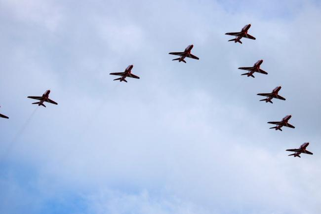 The Red Arrows over Hertfordshire this evening. Credit: Steve Holland
